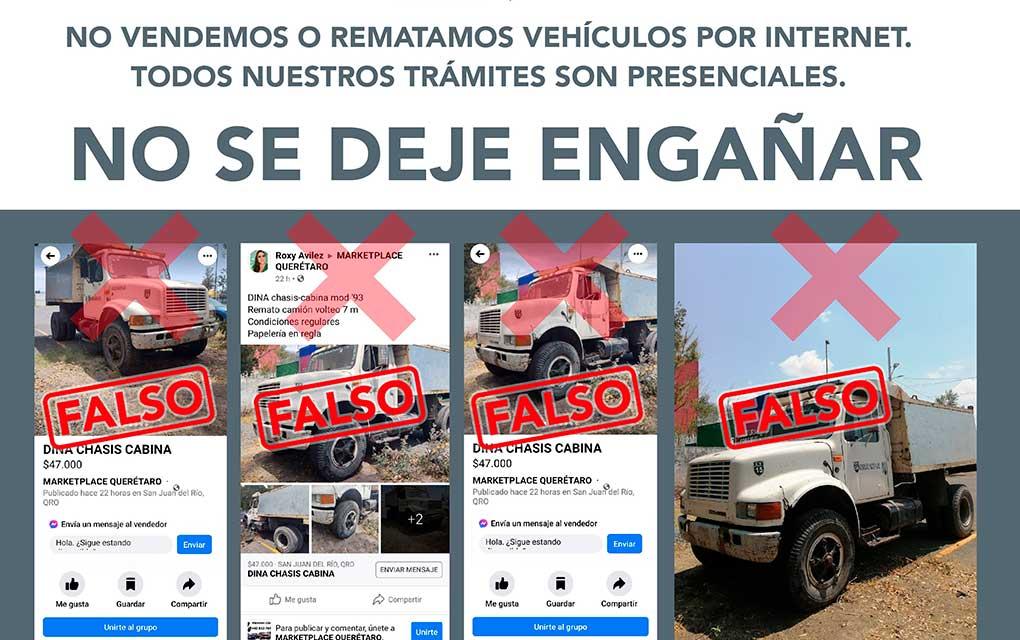 Gobierno de Querétaro advierte sobre venta falsa de vehículos por internet